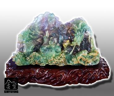 冷翡翠祥龍觀音雕刻 Fluorite Sculpture(Guanyin)