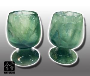 冷翡翠高腳對杯 Fluorite Goblets