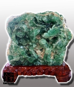 冷翡翠龍鳳呈祥雕刻 Fluorite Sculpture(Chinese Dragon & Phenix)