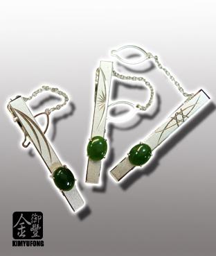 台灣玉領帶夾 Taiwaness Jade Tie Bars