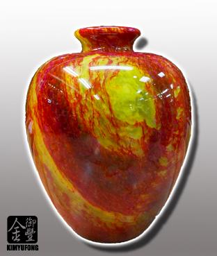 朱花琥珀富貴甕 Fancy Amber Stone Vase