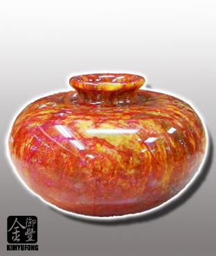 朱花琥珀聚寶盆 Fancy Amber Stone Vase