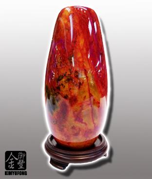 朱花琥珀花瓶 Fancy Amber Stone Vase