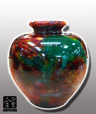 牡丹翡翠富貴甕 Peony EmeraldStone Vase