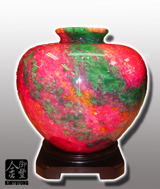 牡丹翡翠聚寶盆 Peony EmeraldStone Vase
