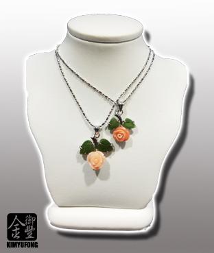 粉紅/桃紅珊瑚玫瑰墜子 Pink/Momo Coral Pendants(Rose)