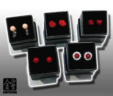 赤紅珊瑚耳環 A-ka Coral Ear Rings