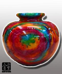 霓虹碧玉聚寶盆 Colorful LuckyStone Vase