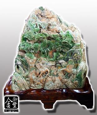 青玉壽山仙鶴雕刻 Green Jade Sculpture(Cranes)