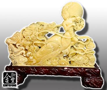 黃玉天女散花雕刻 Yellow Jade Sculpture(Goddess)