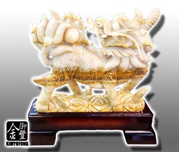 黃玉福祿麒麟雕刻 Yellow Jade Sculpture(Chinese Unicorn)